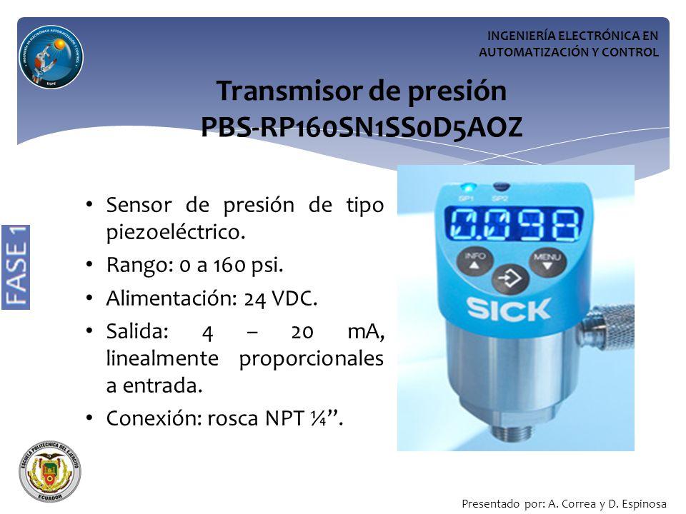 INGENIERÍA ELECTRÓNICA EN AUTOMATIZACIÓN Y CONTROL Transmisor de presión PBS-RP160SN1SS0D5AOZ Sensor de presión de tipo piezoeléctrico.