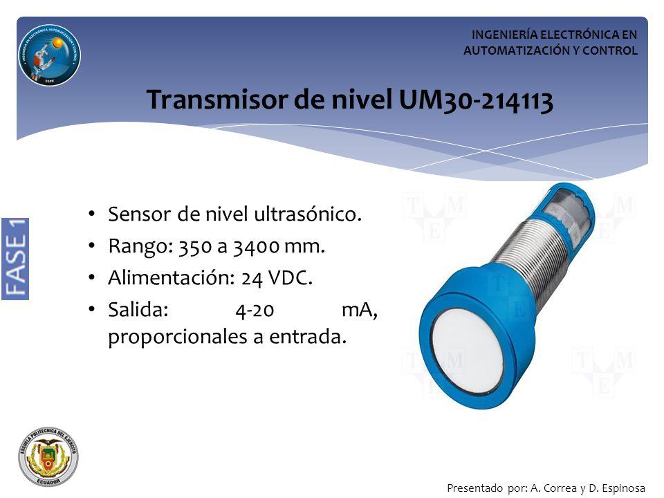 INGENIERÍA ELECTRÓNICA EN AUTOMATIZACIÓN Y CONTROL Transmisor de nivel UM30-214113 Sensor de nivel ultrasónico.