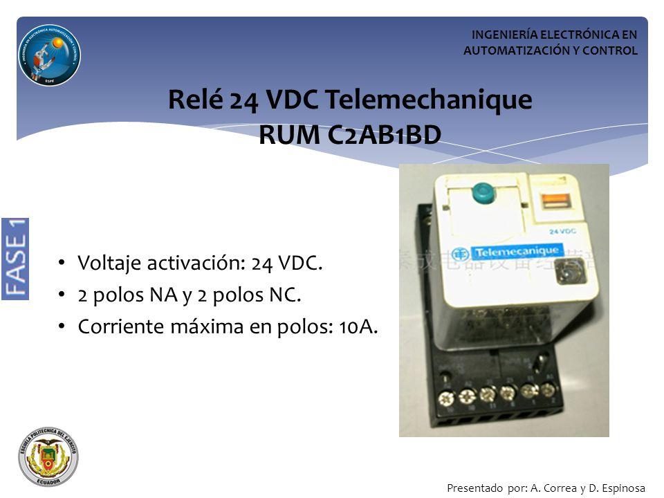 INGENIERÍA ELECTRÓNICA EN AUTOMATIZACIÓN Y CONTROL Relé 24 VDC Telemechanique RUM C2AB1BD Voltaje activación: 24 VDC.