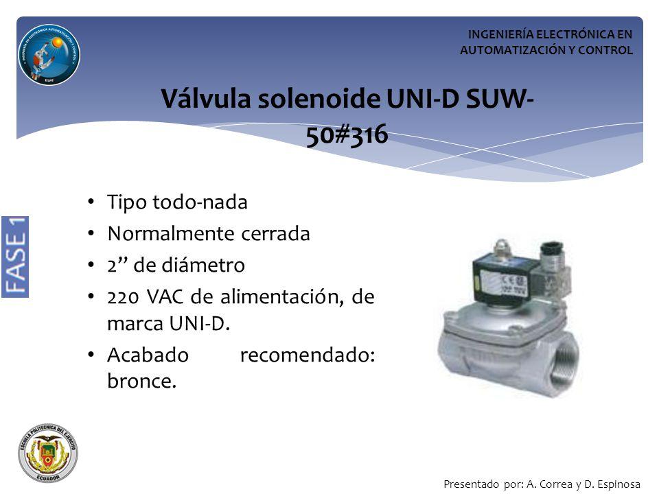 INGENIERÍA ELECTRÓNICA EN AUTOMATIZACIÓN Y CONTROL Válvula solenoide UNI-D SUW- 50#316 Tipo todo-nada Normalmente cerrada 2 de diámetro 220 VAC de alimentación, de marca UNI-D.