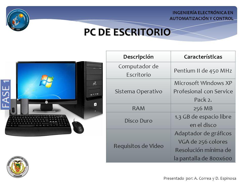 INGENIERÍA ELECTRÓNICA EN AUTOMATIZACIÓN Y CONTROL PC DE ESCRITORIO DescripciónCaracterísticas Computador de Escritorio Pentium II de 450 MHz Sistema Operativo Microsoft Windows XP Profesional con Service Pack 2.