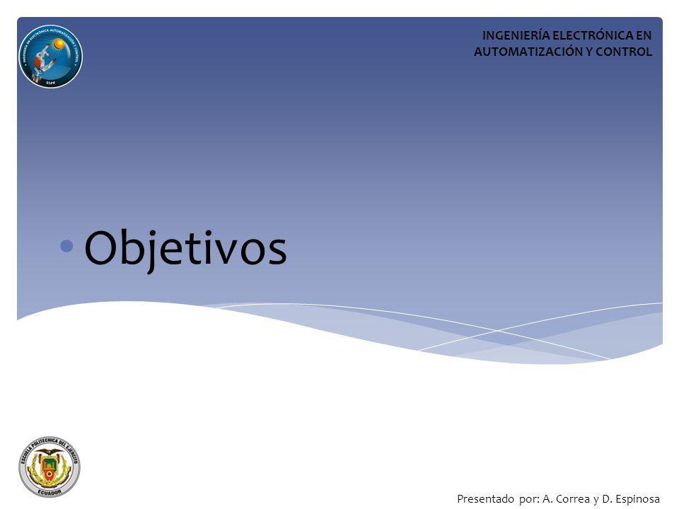 Objetivos INGENIERÍA ELECTRÓNICA EN AUTOMATIZACIÓN Y CONTROL Presentado por: A.