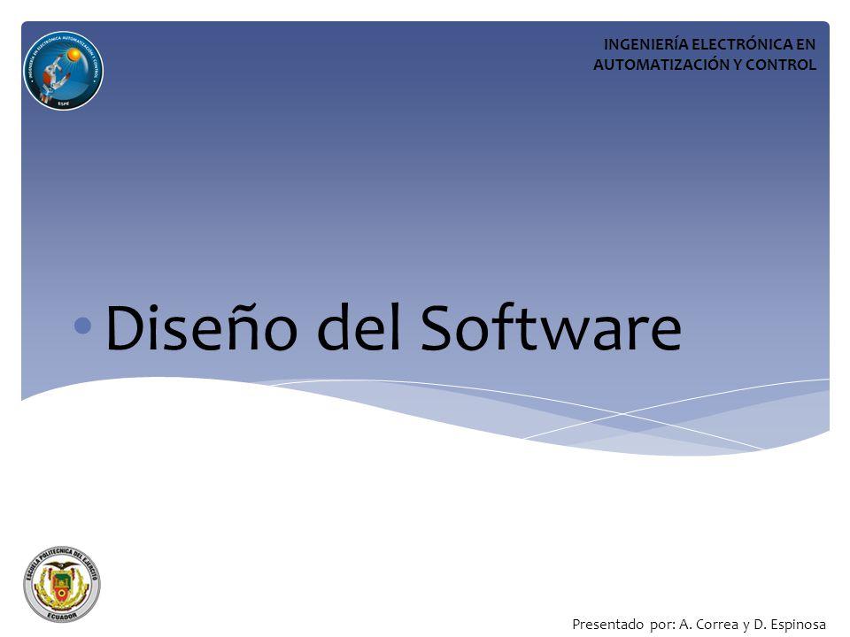 Diseño del Software INGENIERÍA ELECTRÓNICA EN AUTOMATIZACIÓN Y CONTROL Presentado por: A.