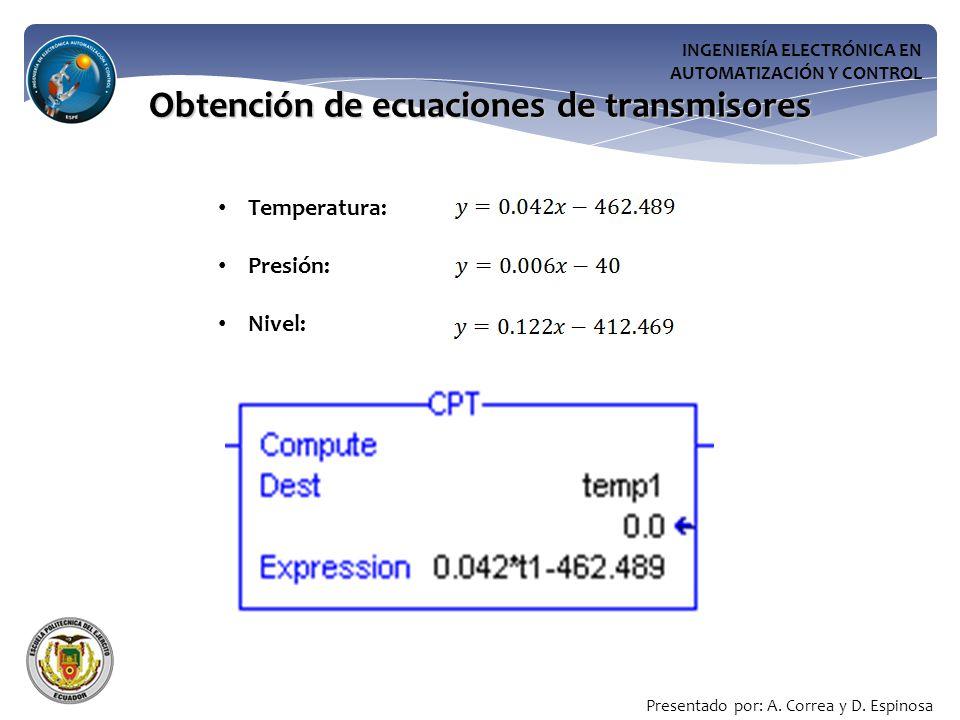 INGENIERÍA ELECTRÓNICA EN AUTOMATIZACIÓN Y CONTROL Obtención de ecuaciones de transmisores Temperatura: Presión: Nivel: Presentado por: A.