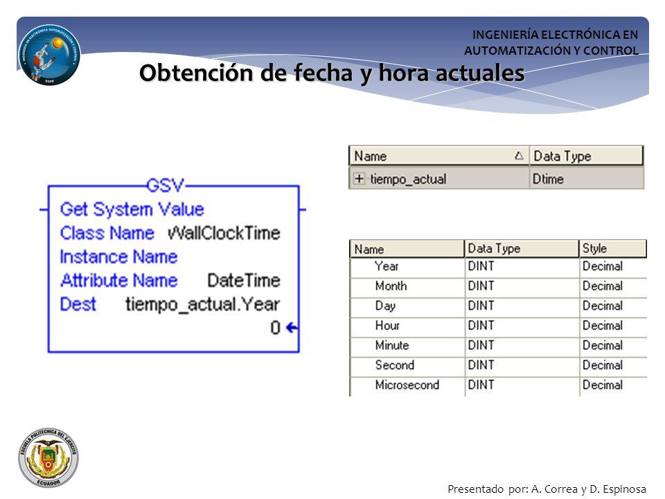 INGENIERÍA ELECTRÓNICA EN AUTOMATIZACIÓN Y CONTROL Obtención de fecha y hora actuales Presentado por: A.