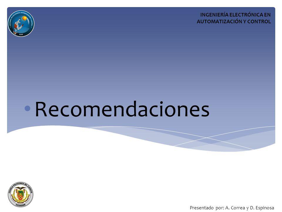 Recomendaciones INGENIERÍA ELECTRÓNICA EN AUTOMATIZACIÓN Y CONTROL Presentado por: A.