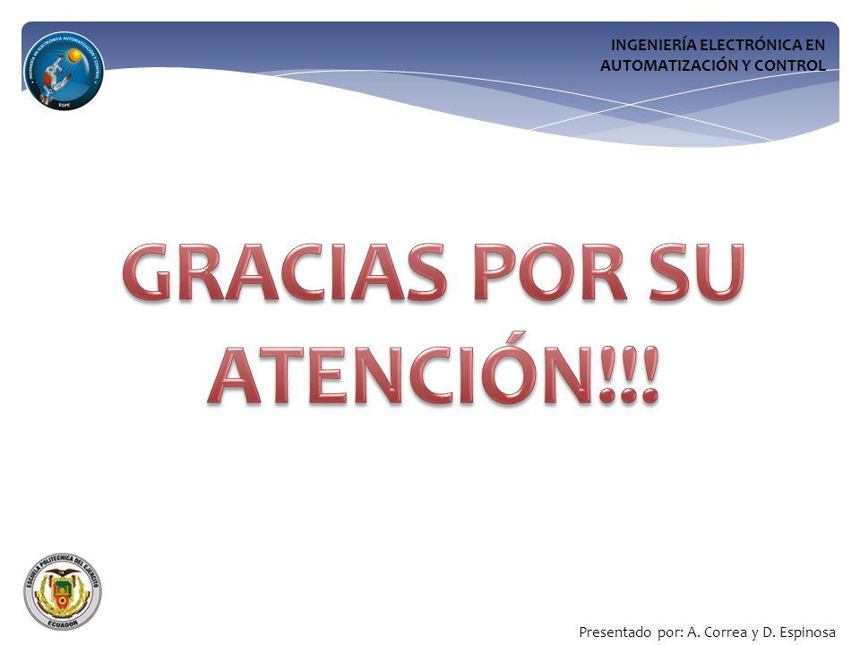 INGENIERÍA ELECTRÓNICA EN AUTOMATIZACIÓN Y CONTROL Presentado por: A. Correa y D. Espinosa