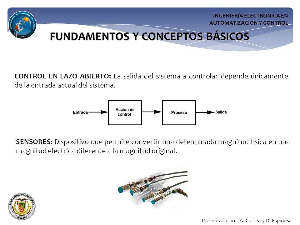 INGENIERÍA ELECTRÓNICA EN AUTOMATIZACIÓN Y CONTROL FUNDAMENTOS Y CONCEPTOS BÁSICOS CONTROL EN LAZO ABIERTO: La salida del sistema a controlar depende únicamente de la entrada actual del sistema.