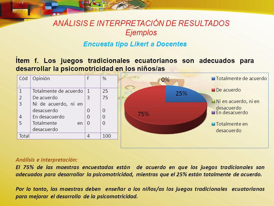 ANÁLISIS E INTERPRETACIÓN DE RESULTADOS Ejemplos Encuesta tipo Likert a Docentes Ítem f.