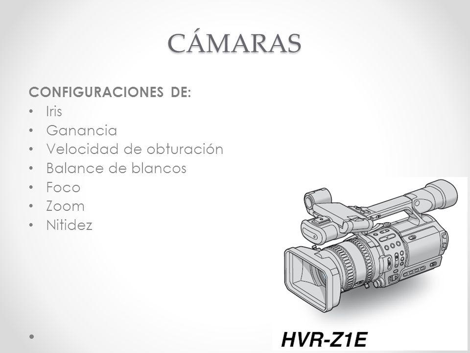 CÁMARAS CONFIGURACIONES DE: Iris Ganancia Velocidad de obturación Balance de blancos Foco Zoom Nitidez