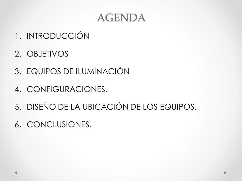 AGENDA 1.INTRODUCCIÓN 2.OBJETIVOS 3.EQUIPOS DE ILUMINACIÓN 4.CONFIGURACIONES. 5.DISEÑO DE LA UBICACIÓN DE LOS EQUIPOS. 6.CONCLUSIONES.