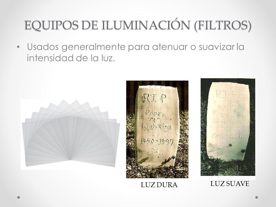 EQUIPOS DE ILUMINACIÓN (FILTROS) Usados generalmente para atenuar o suavizar la intensidad de la luz. LUZ DURA LUZ SUAVE
