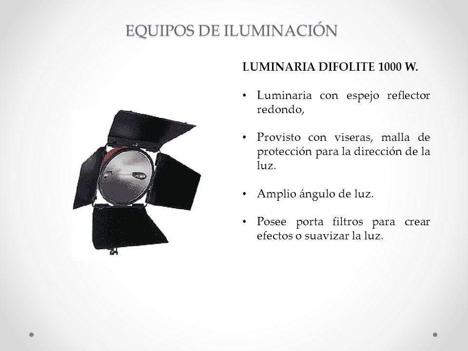 LUMINARIA DIFOLITE 1000 W. Luminaria con espejo reflector redondo, Provisto con viseras, malla de protección para la dirección de la luz. Amplio ángul