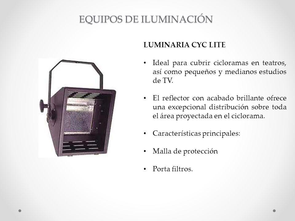 LUMINARIA CYC LITE Ideal para cubrir cicloramas en teatros, así como pequeños y medianos estudios de TV. El reflector con acabado brillante ofrece una