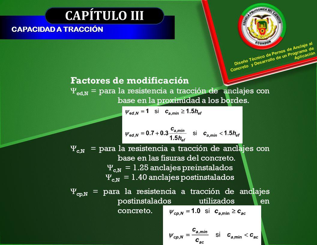 CAPÍTULO III CAPACIDAD A TRACCIÓN Factores de modificación Ψ ed,N = para la resistencia a tracción de anclajes con base en la proximidad a los bordes.