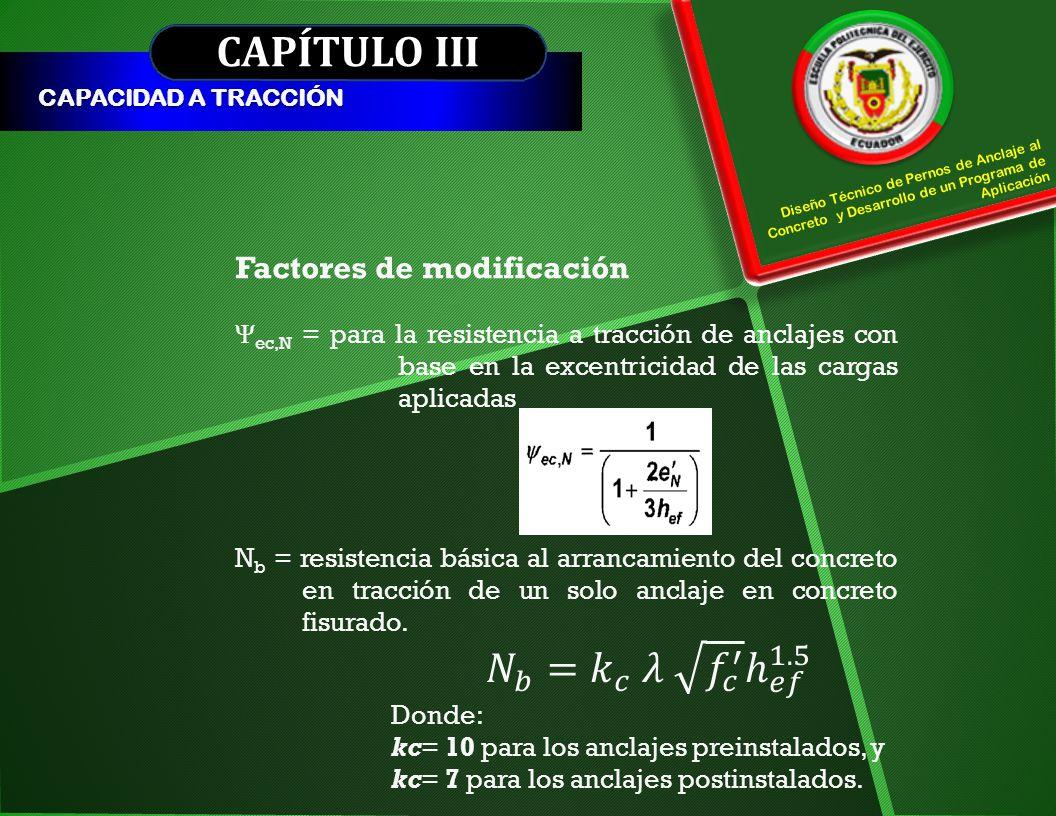 CAPÍTULO III CAPACIDAD A TRACCIÓN Factores de modificación Ψ ec,N = para la resistencia a tracción de anclajes con base en la excentricidad de las car