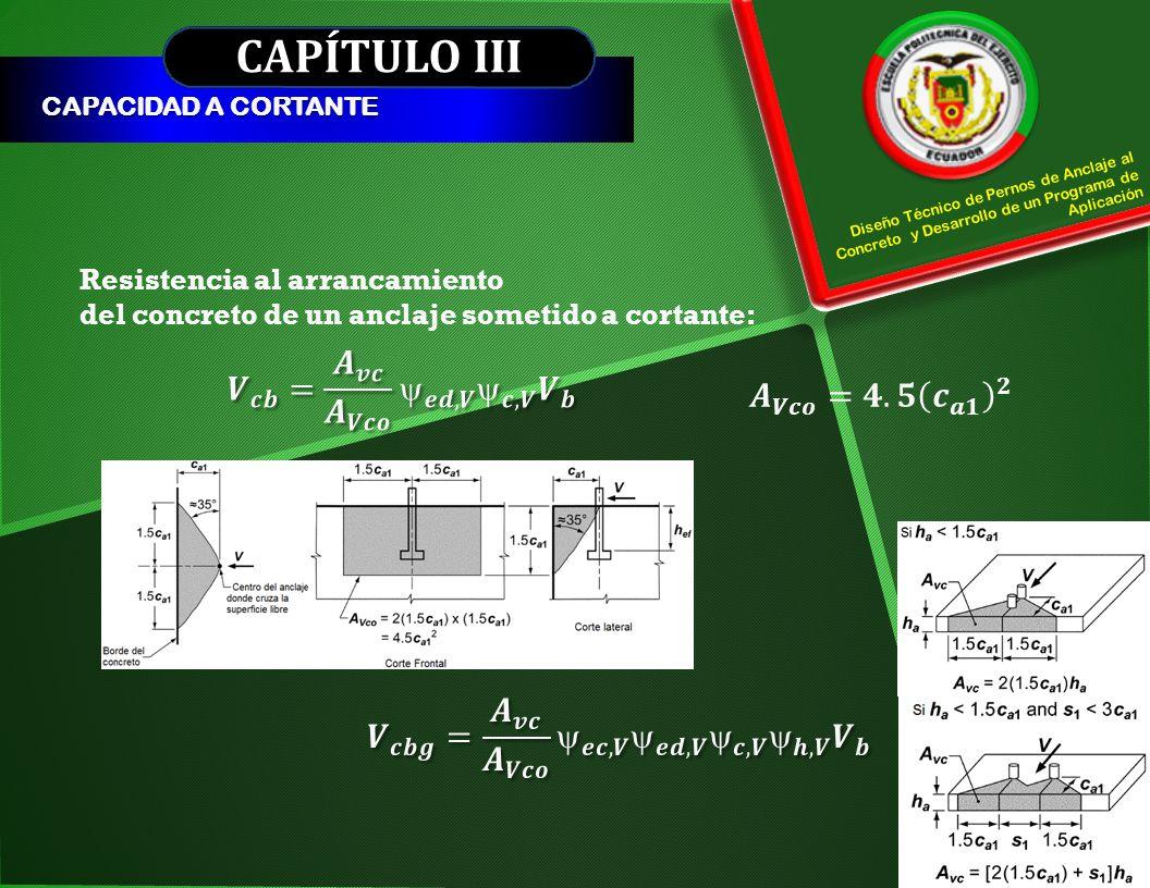 CAPÍTULO III CAPACIDAD A CORTANTE Resistencia al arrancamiento del concreto de un anclaje sometido a cortante: Diseño Técnico de Pernos de Anclaje al