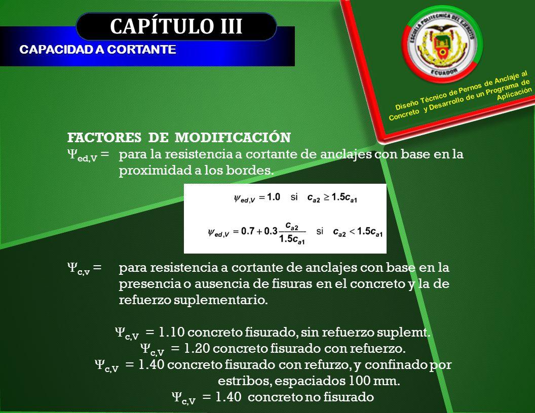 CAPÍTULO III CAPACIDAD A CORTANTE Diseño Técnico de Pernos de Anclaje al Concreto y Desarrollo de un Programa de Aplicación FACTORES DE MODIFICACIÓN Ψ