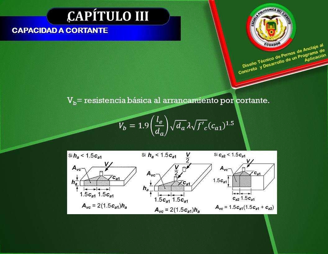 CAPÍTULO III CAPACIDAD A CORTANTE V b = resistencia básica al arrancamiento por cortante. Diseño Técnico de Pernos de Anclaje al Concreto y Desarrollo