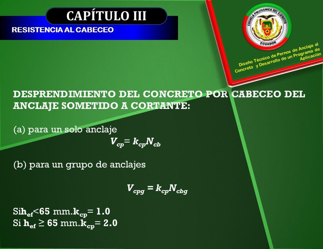 CAPÍTULO III RESISTENCIA AL CABECEO DESPRENDIMIENTO DEL CONCRETO POR CABECEO DEL ANCLAJE SOMETIDO A CORTANTE: (a) para un solo anclaje V cp = k cp N c