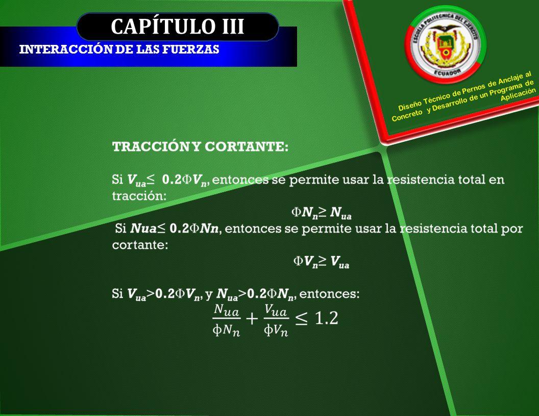 CAPÍTULO III INTERACCIÓN DE LAS FUERZAS Diseño Técnico de Pernos de Anclaje al Concreto y Desarrollo de un Programa de Aplicación