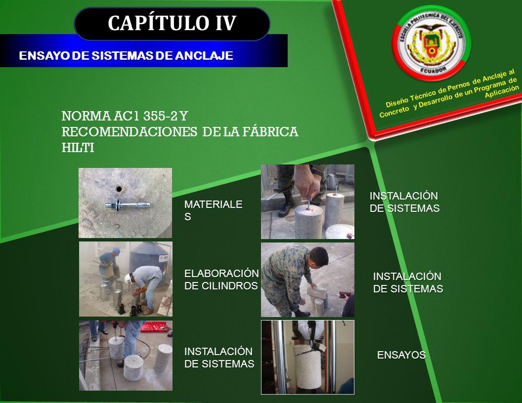 CAPÍTULO IV ENSAYO DE SISTEMAS DE ANCLAJE Diseño Técnico de Pernos de Anclaje al Concreto y Desarrollo de un Programa de Aplicación NORMA AC1 355-2 Y