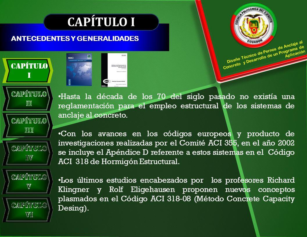 Capítulo V CAPÍTULO V PROGRAMA DE APLICACIÓN INTRODUCCIÓN Calcula en forma automatizada, eficaz y eficiente, con todos los factores de modificación y reducción de capacidad que indica el ACI 318-08 en su Apéndice D CARACTERÍSTICAS DEL PROGRAMA DE APLICACIÓN Se lo realizó bajo la plataforma de la hoja electrónica de EXCEL.