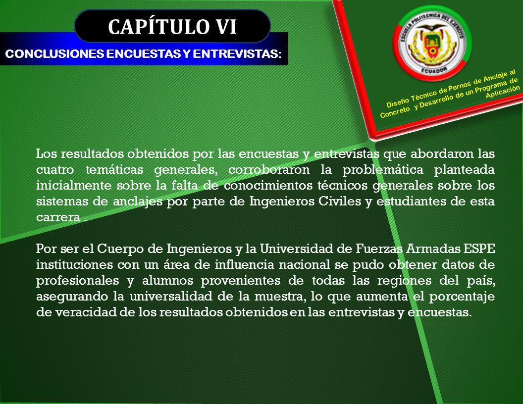 CAPÍTULO VI CONCLUSIONES ENCUESTAS Y ENTREVISTAS: Diseño Técnico de Pernos de Anclaje al Concreto y Desarrollo de un Programa de Aplicación Los result