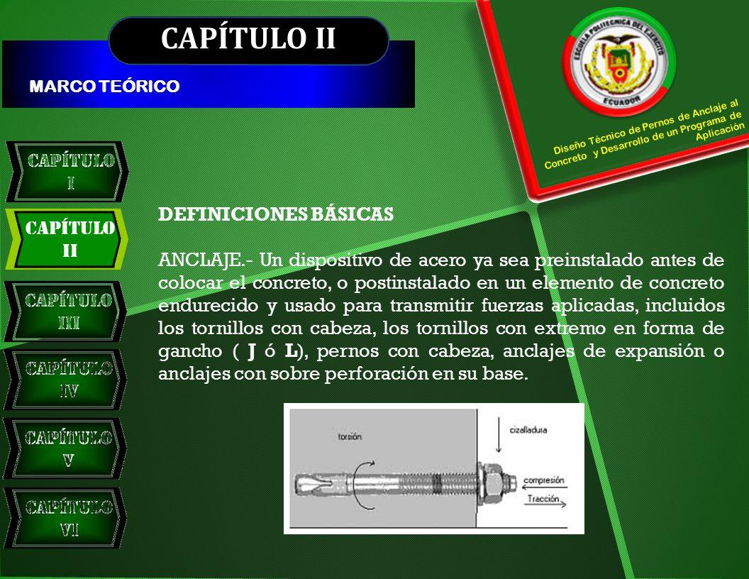 CAPÍTULO II PROFUNDIDAD EFECTIVA DE EMBEBIDO Diseño Técnico de Pernos de Anclaje al Concreto y Desarrollo de un Programa de Aplicación Profundidad total a través de la cual el anclaje transfiere fuerzas hacia o desde el concreto que lo rodea.