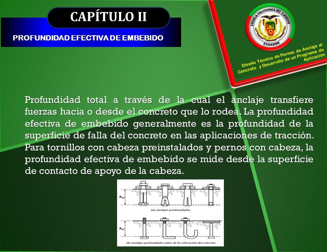 CAPÍTULO III MÉTODOS DE DISEÑO ANÁLISIS DEL APÉNDICE D ACI 318-08 Se considera la mecánica de la fractura, en función de la profundidad efectiva de embebimiento elevada a la potencia 1,5 considerando un ángulo de fractura del concreto de 35° (h ef 1,5 ).