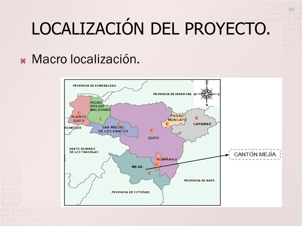 LOCALIZACIÓN DEL PROYECTO. Macro localización. 30