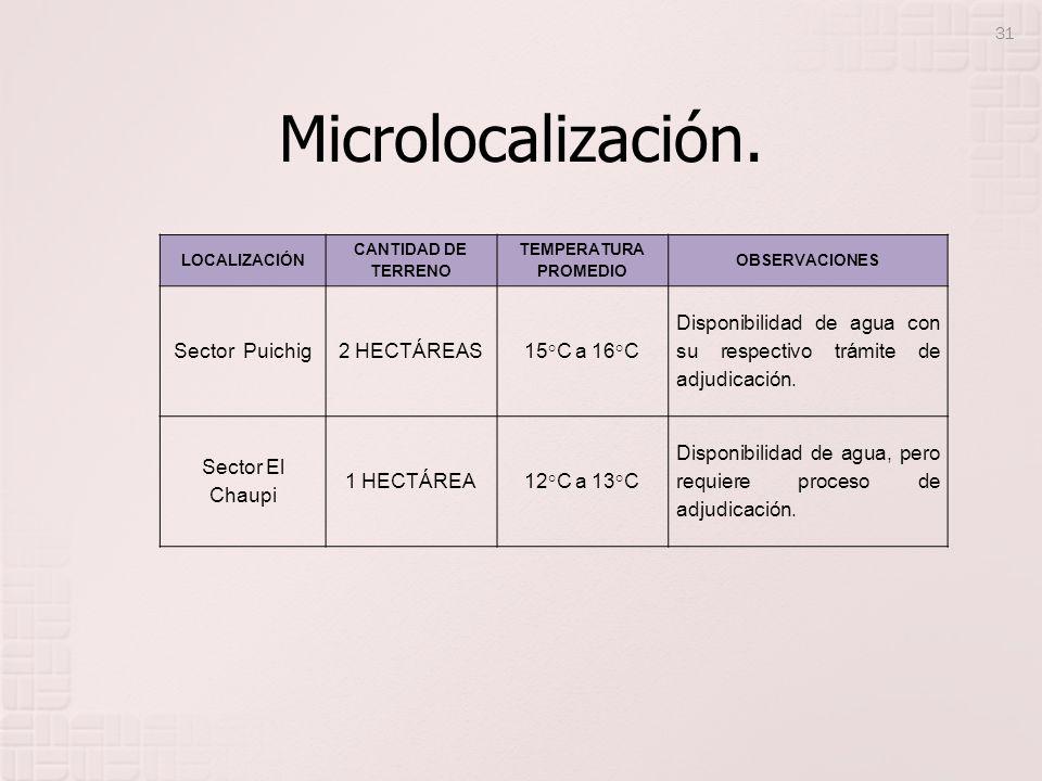 Microlocalización. LOCALIZACIÓN CANTIDAD DE TERRENO TEMPERATURA PROMEDIO OBSERVACIONES Sector Puichig2 HECTÁREAS15°C a 16°C Disponibilidad de agua con