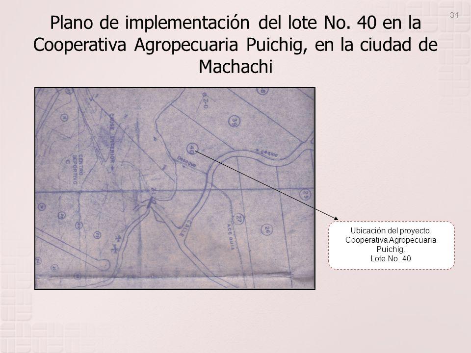 Plano de implementación del lote No. 40 en la Cooperativa Agropecuaria Puichig, en la ciudad de Machachi Ubicación del proyecto. Cooperativa Agropecua