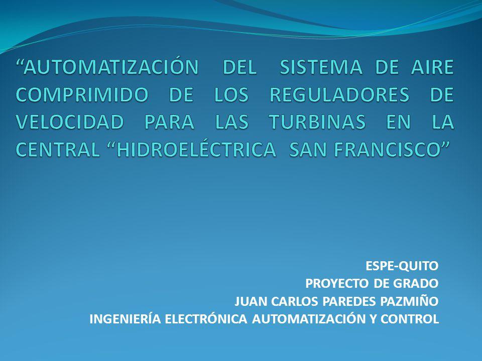 ESPE-QUITO PROYECTO DE GRADO JUAN CARLOS PAREDES PAZMIÑO INGENIERÍA ELECTRÓNICA AUTOMATIZACIÓN Y CONTROL