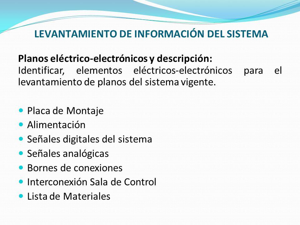 LEVANTAMIENTO DE INFORMACIÓN DEL SISTEMA Planos eléctrico-electrónicos y descripción: Identificar, elementos eléctricos-electrónicos para el levantami