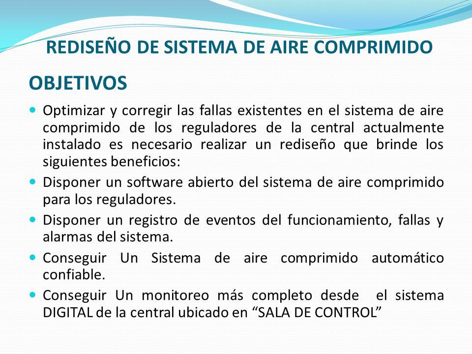 OBJETIVOS Optimizar y corregir las fallas existentes en el sistema de aire comprimido de los reguladores de la central actualmente instalado es necesa