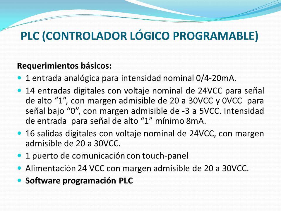PLC (CONTROLADOR LÓGICO PROGRAMABLE) Requerimientos básicos: 1 entrada analógica para intensidad nominal 0/4-20mA. 14 entradas digitales con voltaje n