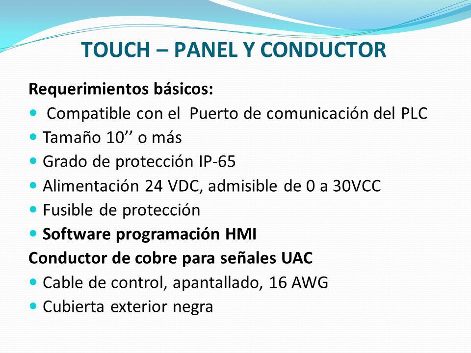 TOUCH – PANEL Y CONDUCTOR Requerimientos básicos: Compatible con el Puerto de comunicación del PLC Tamaño 10 o más Grado de protección IP-65 Alimentac