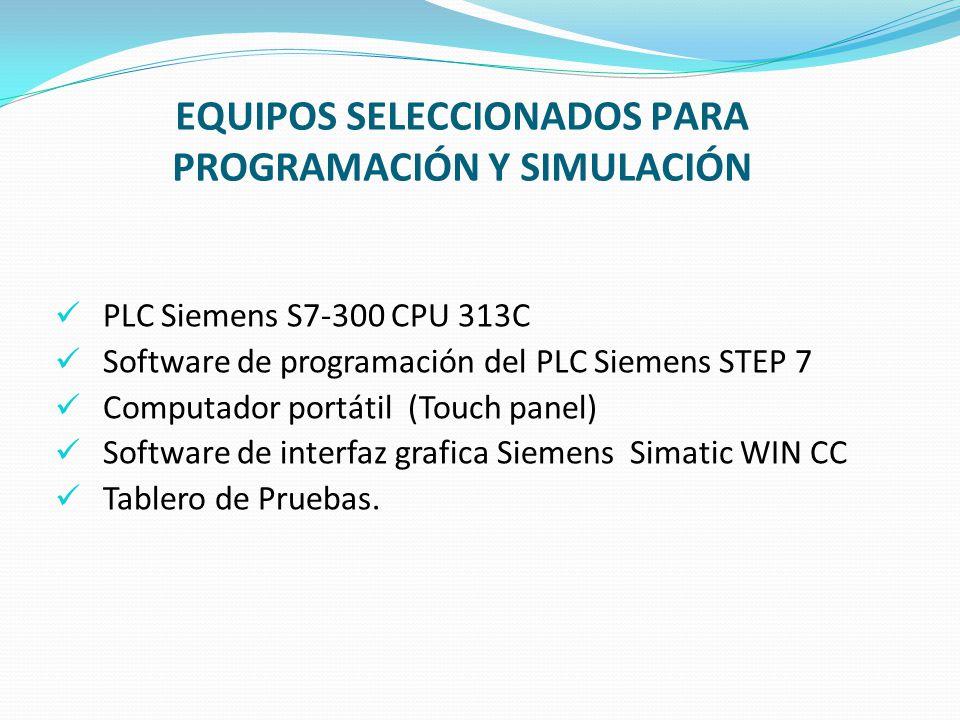 EQUIPOS SELECCIONADOS PARA PROGRAMACIÓN Y SIMULACIÓN PLC Siemens S7-300 CPU 313C Software de programación del PLC Siemens STEP 7 Computador portátil (