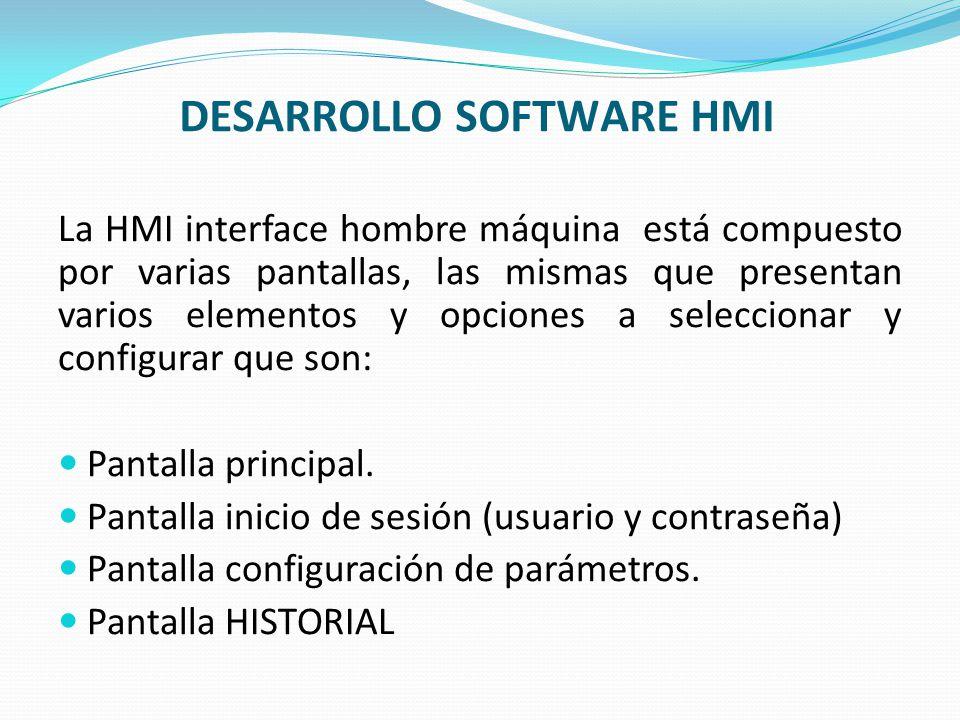 DESARROLLO SOFTWARE HMI La HMI interface hombre máquina está compuesto por varias pantallas, las mismas que presentan varios elementos y opciones a se