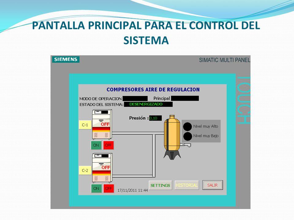 PANTALLA PRINCIPAL PARA EL CONTROL DEL SISTEMA