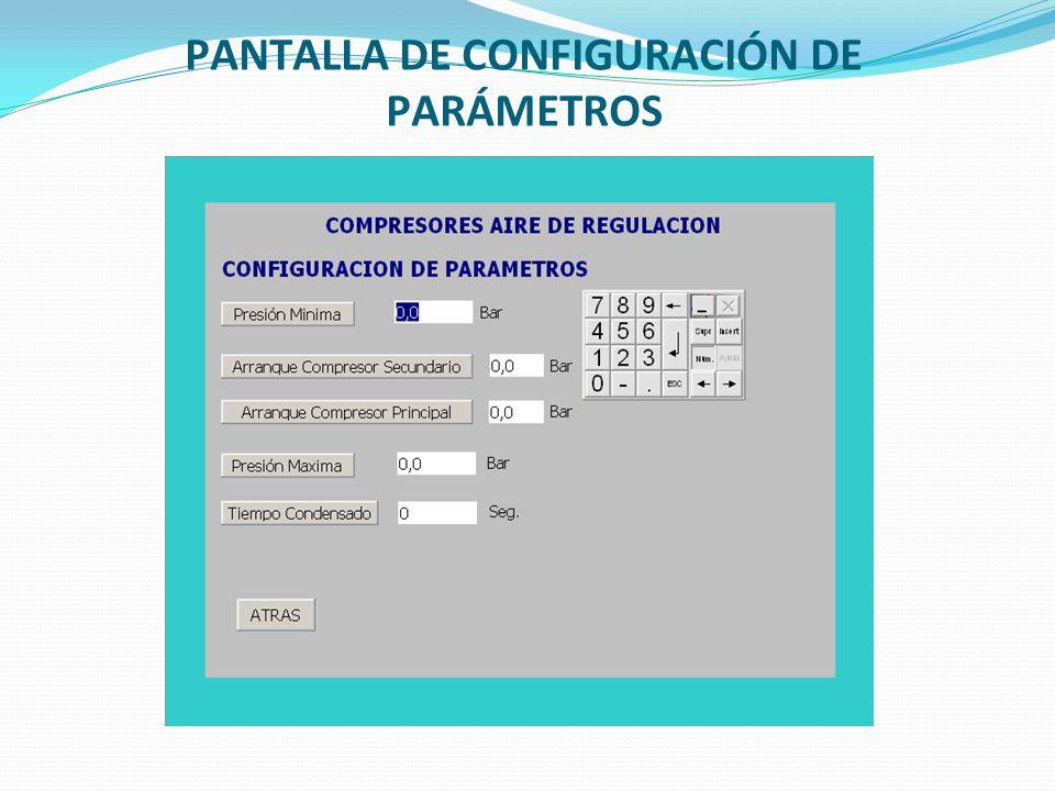 PANTALLA DE CONFIGURACIÓN DE PARÁMETROS