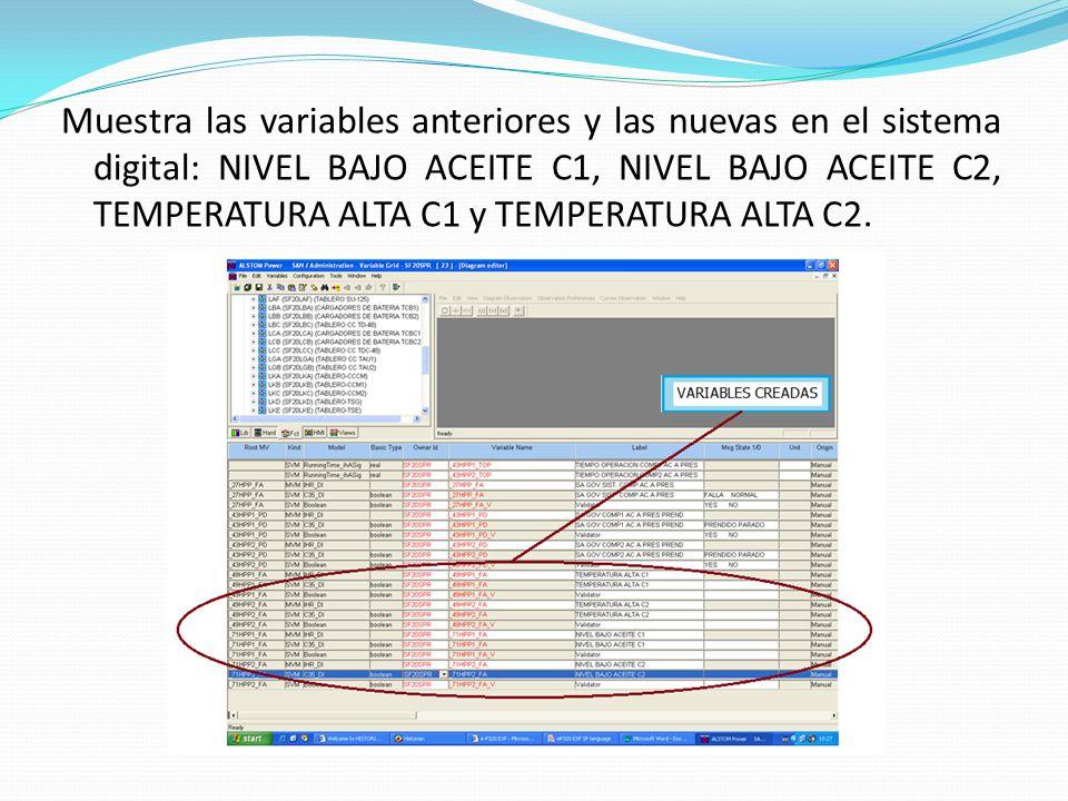 Muestra las variables anteriores y las nuevas en el sistema digital: NIVEL BAJO ACEITE C1, NIVEL BAJO ACEITE C2, TEMPERATURA ALTA C1 y TEMPERATURA ALT
