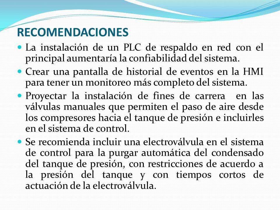 RECOMENDACIONES La instalación de un PLC de respaldo en red con el principal aumentaría la confiabilidad del sistema. Crear una pantalla de historial