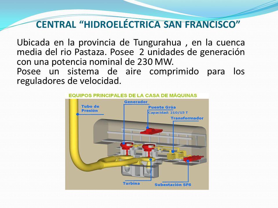 CENTRAL HIDROELÉCTRICA SAN FRANCISCO Ubicada en la provincia de Tungurahua, en la cuenca media del rio Pastaza. Posee 2 unidades de generación con una