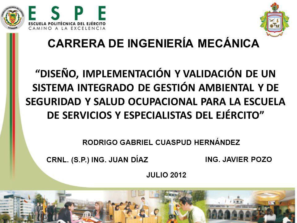 CARRERA DE INGENIERÍA MECÁNICA JULIO 2012 DISEÑO, IMPLEMENTACIÓN Y VALIDACIÓN DE UN SISTEMA INTEGRADO DE GESTIÓN AMBIENTAL Y DE SEGURIDAD Y SALUD OCUP