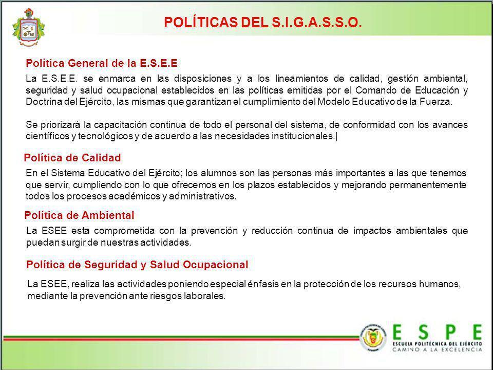 POLÍTICAS DEL S.I.G.A.S.S.O. La E.S.E.E. se enmarca en las disposiciones y a los lineamientos de calidad, gestión ambiental, seguridad y salud ocupaci