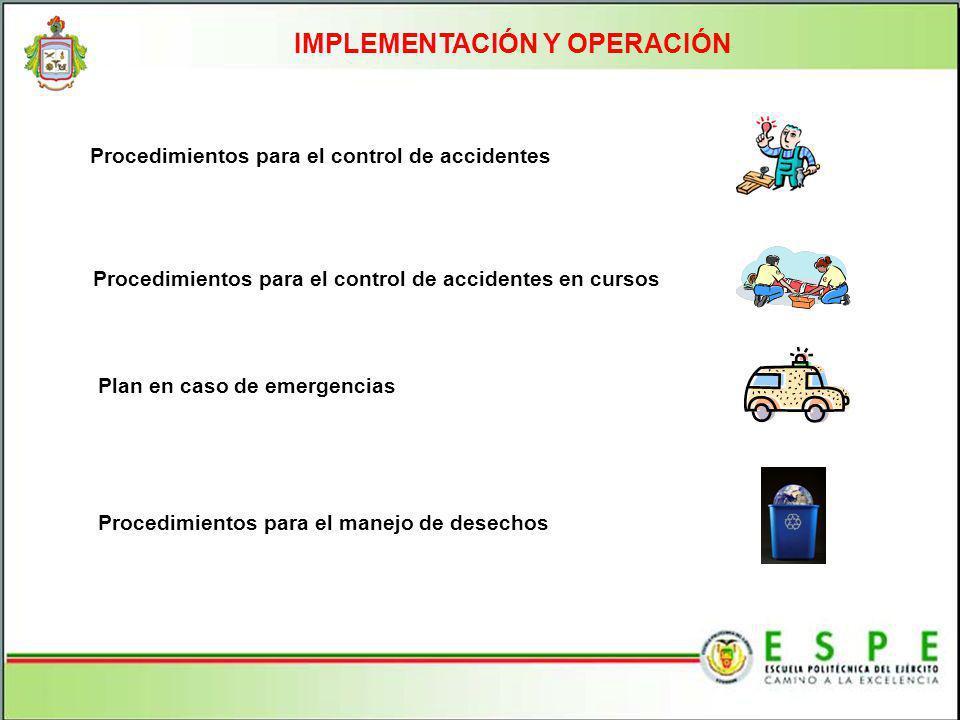 IMPLEMENTACIÓN Y OPERACIÓN Procedimientos para el control de accidentes Procedimientos para el control de accidentes en cursos Plan en caso de emergen