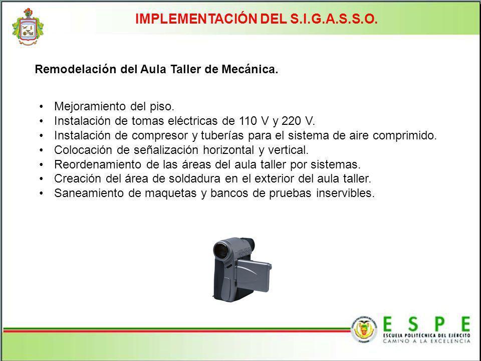 IMPLEMENTACIÓN DEL S.I.G.A.S.S.O. Remodelación del Aula Taller de Mecánica. Mejoramiento del piso. Instalación de tomas eléctricas de 110 V y 220 V. I