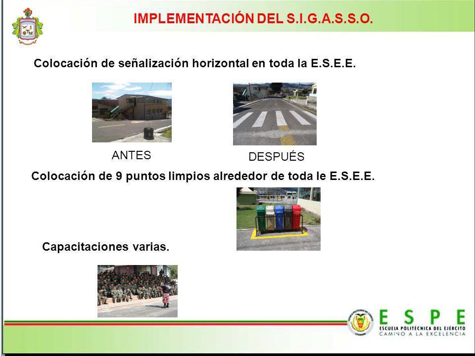 IMPLEMENTACIÓN DEL S.I.G.A.S.S.O. Colocación de señalización horizontal en toda la E.S.E.E. Colocación de 9 puntos limpios alrededor de toda le E.S.E.